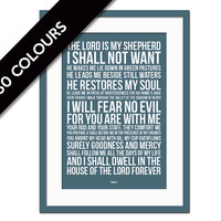 Psalm 23 - Bible Verse Art - Scripture Poster Art - Scripture Art Print - Christian Wall Decor - Typographic Print - Biblical Art Print