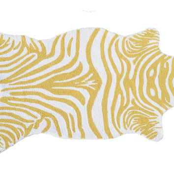 "2'8""x4'8"" Mini Zebra Rug, Yellow/White, Area Rugs"