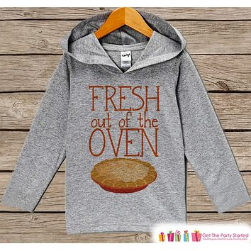 Baby Thanksgiving Outfit - Baby Boy or Girl Turkey Day Shirt - Fresh Out Of The Oven - Grey Hoodie Kids Pullover - Infant Thanksgiving Top