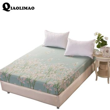 100% Cotton Bed Sheets With Elastic Blue Flower Printed Bed Linen Queen Size Mattress Covers Fitted Sheet Sets For King Size Bed