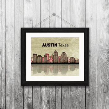 Austin Texas city skyline, 8x10 Instant download, printable, original art print, home decor, wall art, digital download, gift for him or her