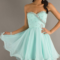 Short Strapless Party Dress for Prom by Mori Lee