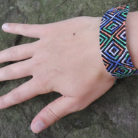 Friendship Bracelet - Black and TyeDye Diamond Pattern - Handmade