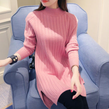 Petite Slit Side Medium Collar Classic Vertical Knit Solid Color Warm Winter Loose Style Tunic Sweater Dress