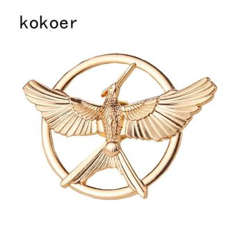 kokoer 3 Colors Fashion Trendy Jewelry The Hunger Games Vintage Style Birds Brooches Restro badge pin bag brooch for women men