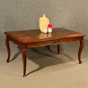 Antique Extending Kitchen Dining Table French Oak Draw Leaf 6 - 12 Seater c1930