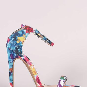 Qupid Watercolor Print Ankle Strap Stiletto Heel