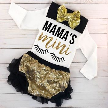 Mama's Mini Newborn Baby Girl Tops Romper + Shorts Pants Outfits Clothes 0-24M