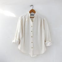 vintage natural white shirt. linen & cotton button down shirt. collarless shirt. modern minimalist.