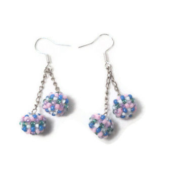 Beaded Earrings Hanging Colorful Balls