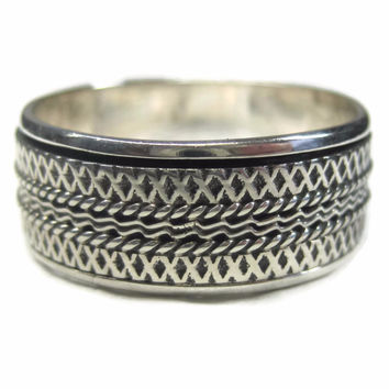 Mens 90s Sterling Spinner Worry Band Ring Size 14