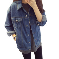Uwback 2016 new brand oversized denim jacket women jeans loose BF coats woman long sleeve denim outwear jackets woman XL TB942
