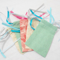 Fabric Gift Bags- 5 - Reusable / Recyclable Fabric Drawstring Gift Wrapping Bag or Goody Bag in Easter Pastel Mix - Gift Card Holder