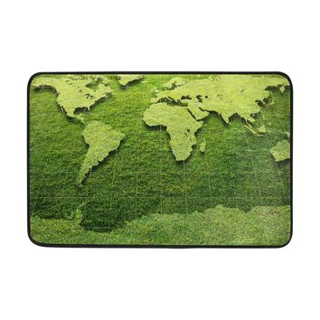 Autumn Fall welcome door mat doormat Yochice Non-slip  Home Decor, Stylish Grass World Map Green Durable Indoor Outdoor Entrance  23.6 X 15.7 Inches AT_76_7