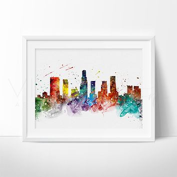 Los Angeles Skyline 2 Watercolor Art Print