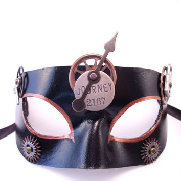 Journey: Black Leather Steampunk Mask. All handmade and embellished with Steampunk elements!