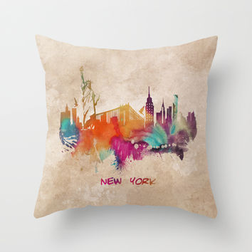 New York City Skyline colored Throw Pillow by Jbjart | Society6