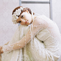 Bridal silk flower crown with ribbon tie veil - La Fleur Style no. 1958