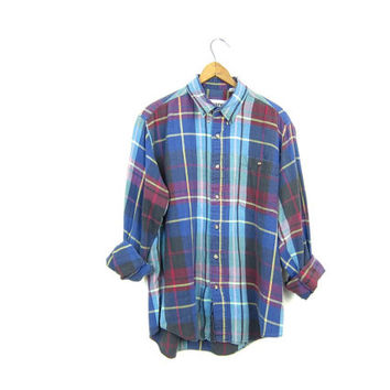 90s Plaid Shirt Button Up Plaid Blue PURPLE Pink Preppy Cotton Flannel Grunge Shirt Fall Button Up Women's Flannel Shirt Medium Large