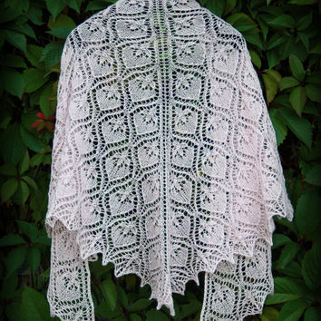 "Hand knitted fine lace luxurious old pink triangle shawl ""Waterlily"".  Ready to ship"