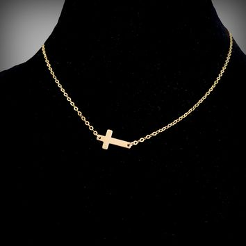 Simple Feminine Boho Gold Sideways Cross Gold Filled Chain Necklace