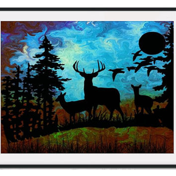 Stag Art Print Deer Animal Forest Tree Child Landscape Moon Birds Silhouette Abstract A4 Original Art Painting Nursery