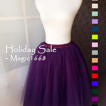 Romantic Purple Tulle Skirt Women Tulle Skirt Adults Maxi Tutu Skirt Petticoat Plus Size Tulle Skirt Wedding Party Skirt