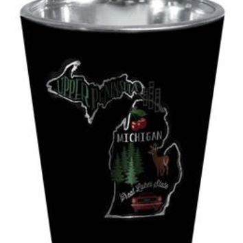 Michigan Silver Map Shot Glass