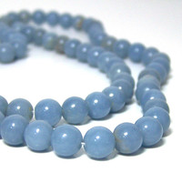 Angelite beads, natural light blue gemstone, 8mm round, full strand (670S)