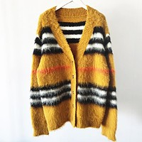Burberry New fashion stripe long sleeve coat cardigan Yellow
