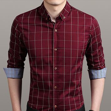 Mens Checkered Button Down Shirt