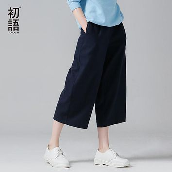 Toyouth Office lady Wool Pleated Women Wide Leg Pants Solid Color Casual Capris