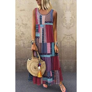 Purple Bohemian Splicing Round Neck Sleeveless Maxi Dress