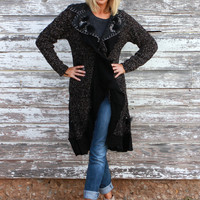 Object Of Perfection Calf Length Cardigan With Ruffles ~ Black ~ Sizes 4-10