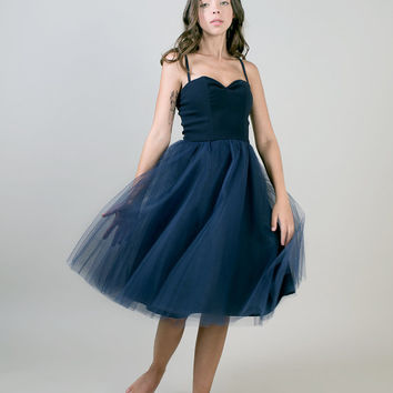 Dark blue tulle dress / navy Tea length party dress -  Made to order