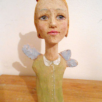 Sculpture Angel Wings Fantasy Girl - painted terra cotta -  Original Artwork by Isabella Pavanati