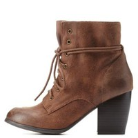 Cognac Chunky Heel Lace-Up Booties by Charlotte Russe