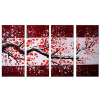 Warm Red Tree Canvas Wall Art Oil Painting