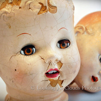 Doll Heads fine art photo - 8x10 broken vintage dolls brown eyes maybe a little creepy in a 'we don't have bodies' kind of way