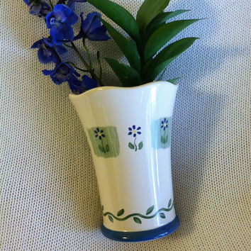 Blue Flowered Ceramic Vase Cottage Chic Vintage Floral Vase With Small Blue Yellow Flowers and Green Vine Scalloped White Flower Container