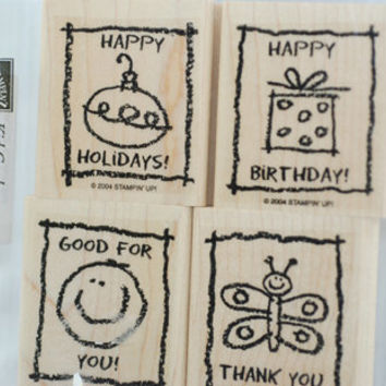 """Stampin Up Rubber Stamps -  """"Kids Cards"""" MINT and RETIRED Stamping Set for Scrapbooking Cardmaking Collage Crafts"""