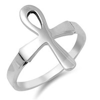 Ankh Ring 925 Sterling Silver Egyptian Cross Ankh Ring