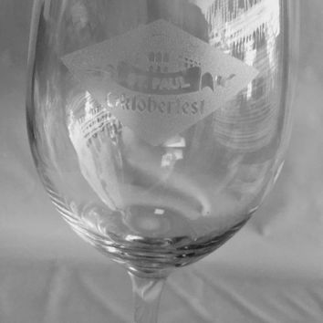 Oktoberfest White or Red Wine Glass 18 Oz - Wedding Party Bridesmaid Mother's Day Housewarming Gifts - Custom Engraved Drinkware Glassware Barware Etched for Free