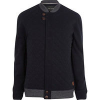 River Island MensNavy quilted contrast trim jacket
