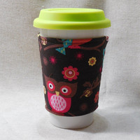 Slip-On Coffee Cozy Made With Owl Inspired Fabric