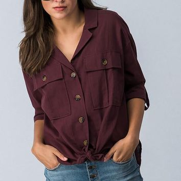 Button Down Hi-Lo Or Tie Front Shirt