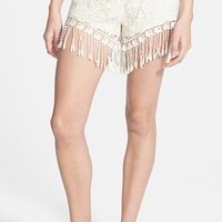 Junior Women's Mimi Chica Fringe Crochet Shorts