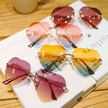 Rimless Women Heart Shaped Sunglasses Female Metal Temples Sun Glasses Fashion Color Women's LOVE Lens Glasses Frameless Design