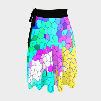 Abstract Mosaic 1 Wrap Skirt Wrap Skirt