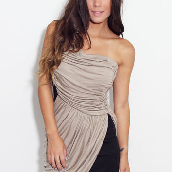 Mocha One Shoulder Drape Dress